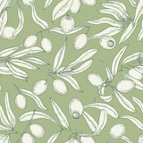 Monochrome seamless pattern with olive tree branches, leaves, ripe fruits or drupes hand drawn with contour lines on green background. Natural realistic hand drawn vector illustration for wallpaper.