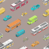 Seamless pattern with urban traffic or automobile transport on city street. Backdrop with motor vehicles of different types - car, scooter, bus, tram, minibus, pickup. Isometric vector illustration.