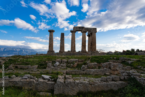 The temple of Apollo and part of the archaeological site of ancient Corinth in Peloponnese, Greece
