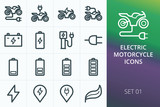 Electric motorcycle icons set. Set of electric motorcycle, motorbike, sport bike, battery charge vector icons.