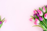 Fototapeta Tulipany - Pink fresh tulips © neirfy