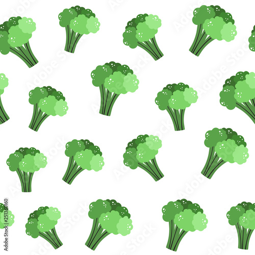 Vector seamless pattern in Doodle style. Broccoli. Vegetable background © Olga