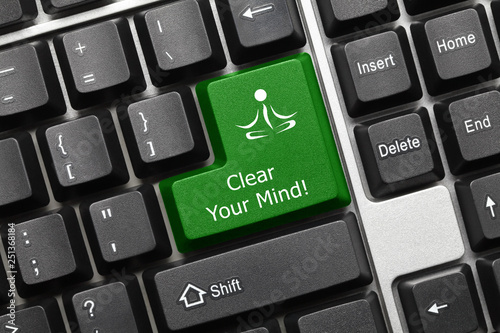 Conceptual keyboard - Clear Your Mind (green key with yoga symbol) - 251368184
