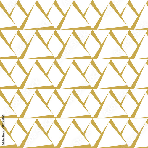 obraz PCV Monochrome background with trianglar shapes. Seamless abstract vector pattern in gold