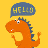 Fototapeta Dinusie - Orange Dinosaur on Yellow Background © losw100