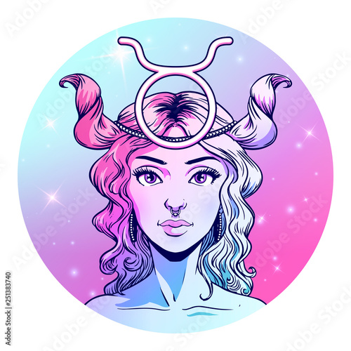 Taurus zodiac sign artwork, beautiful girl face, horoscope symbol, star sign, vector illustration © paw