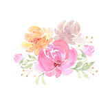 drawing watercolor bouquet of flowers on a white background