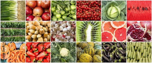 Fresh organic fruits and vegetables collage photo