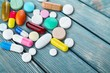 Leinwanddruck Bild - Colorful pills and tablets on background