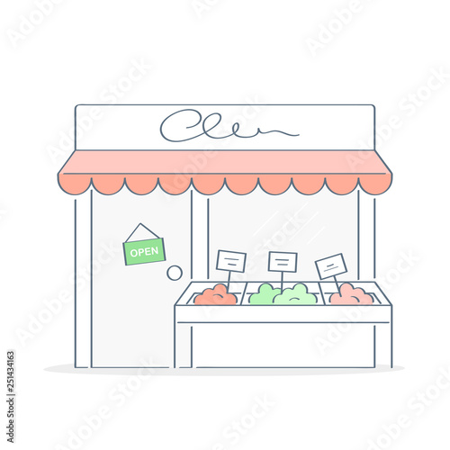Store, market, cozy shop building exterior, small business icon concept. Storefront outline vector illustration in trendy color style on white, premium quality.