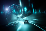 Conceptual car driving in tunnel with digital computer cyberspace background.