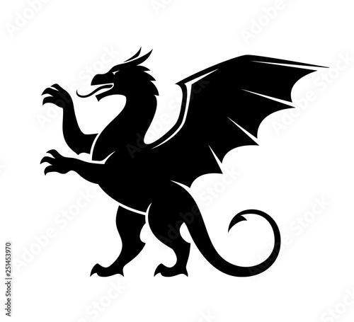 Standing dragon silhouette illustration.