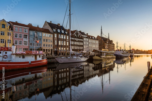 Colourful houses in the sunrise along the quay at Nyhavn Copenhagen
