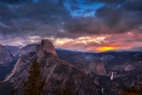 Half Dome seen at sunset seen from the Galcier Point Overlook in Yosemite National Park