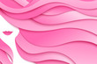 Female design template. Abstract paper girl with long pink hair. Vector illustration