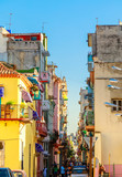 Colorful old houses along the street in old Havana city center,