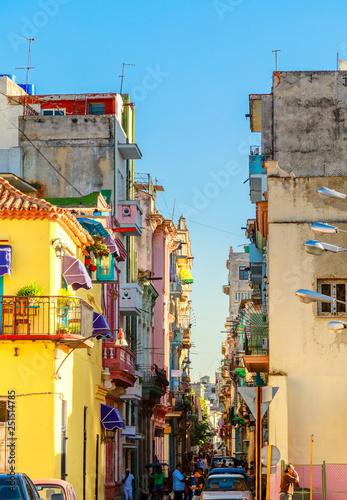 obraz PCV Colorful old houses along the street in old Havana city center,