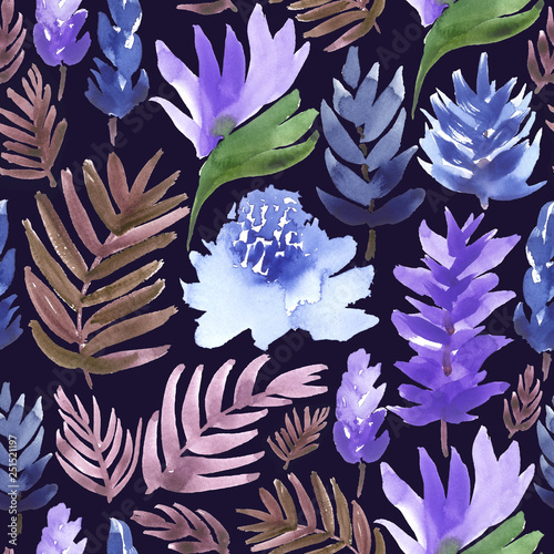 Tropical pattern in blue, purple and brown. All over watercolor print. © Anya D