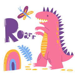 Cool dino poster with funny dinosaur and roar
