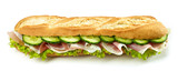baguette sandwich with prosciutto ham and cucumber