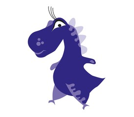 Cute dark blue dinosaur. Cartoon dino. Vector illustration.