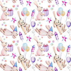 Seamless pattern with watercolor cute festive rabbits and holiday items, hand drawn on a white background