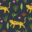 Tiger in Jungle among palm leaves, seamless pattern, vector illustration