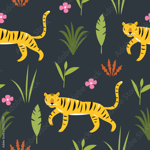 obraz lub plakat Tiger in Jungle among palm leaves, seamless pattern, vector illustration