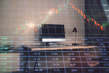 Double exposure of stock market chart and office desktop on background. financial strategy concept. 3d render - 251533160