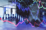 Double exposure of stock market chart and office desktop on background. financial strategy concept. 3d render - 251533182