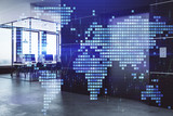 Double exposure of World map polygonal with work space background. Globalization concept. 3d render - 251533303