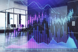 Double exposure of stock market chart and office desktop on background. financial strategy concept. 3d render - 251533304