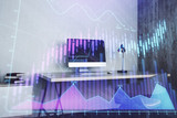 Double exposure of stock market chart and office desktop on background. financial strategy concept. 3d render - 251533328