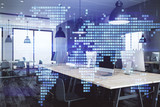Double exposure of World map polygonal with work space background. Globalization concept. 3d render - 251533333
