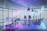 Double exposure of stock market chart and office desktop on background. financial strategy concept. 3d render - 251533371