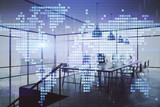 Double exposure of World map polygonal with work space background. Globalization concept. 3d render - 251533385