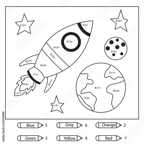 Educational coloring page for kids. Paint color by subtraction and addition numbers. Cartoon rocket, earth and moon. Space theme. Vector illustration. - 251534989