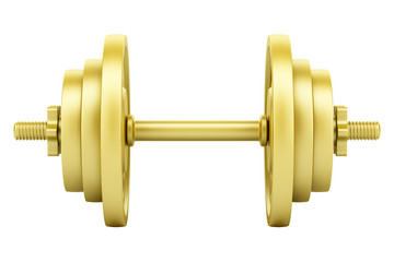 golden dumbbell isolated on white background. 3d illustration © Tiler84
