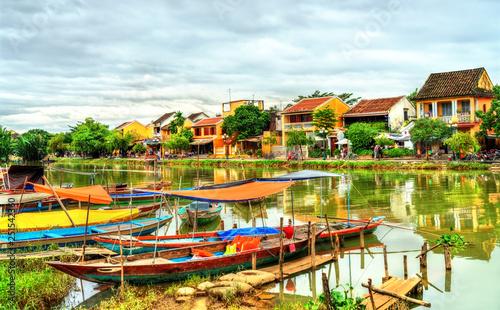 Leinwandbild Motiv Traditional wooden boats in Hoi An, Vietnam