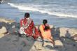 Face à l'océan à Pondichéry, Inde du Sud