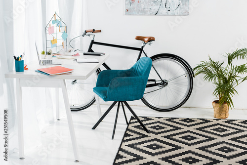 Cozy home office with furniture, big plant and bicycle