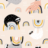 Seamless childish pattern with funny sloths on rainbows. Creative kids texture for fabric, wrapping, textile, wallpaper, apparel. Vector illustration - 251552311