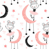 Childish seamless pattern with cute hand drawn ballerina dancing on the moon in scandinavian style. Creative vector childish background for fabric, textile - 251552326