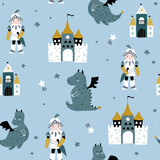 Childish seamless pattern with knight, dragon and castle in scandinavian style. Creative vector childish background for fabric, textile - 251552391