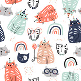 Seamless childish pattern with funny colorful cats and ranbows . Creative scandinavian kids texture for fabric, wrapping, textile, wallpaper, apparel. Vector illustration - 251553780
