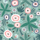 Seamless pattern with flowers, leaves. Creative floral green texture. Great for fabric, textile Vector Illustration - 251553783