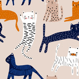 Seamless pattern with cute colorful cats. Creative childish texture. Great for fabric, textile Vector Illustration - 251553976