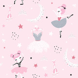Childish seamless pattern with cute hand drawn ballerina dancing on the moon in scandinavian style. Creative vector childish background for fabric, textile - 251553989