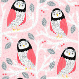 Seamless pattern with owls on trees. Creative woodland childish texture. Great for fabric, textile Vector Illustration - 251553999