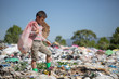 Children find junk for sale and recycle them in landfills, the lives and lifestyles of the poor, Poverty and Environment Concepts